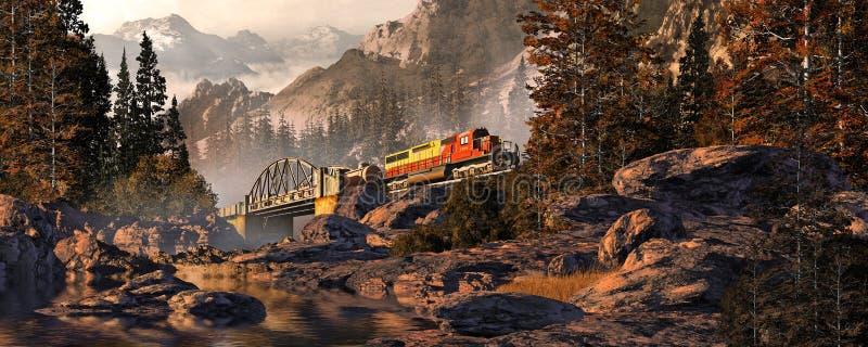 Diesel Locomotive On Steel Arched Bridge royalty free illustration