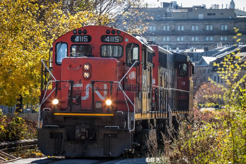 Diesel locomotives with the CN logo shunting. Also known as Canadian National Railway, it is the main freigh and cargo operator. MONTREAL, CANADA - NOVEMBER 4 royalty free stock photo