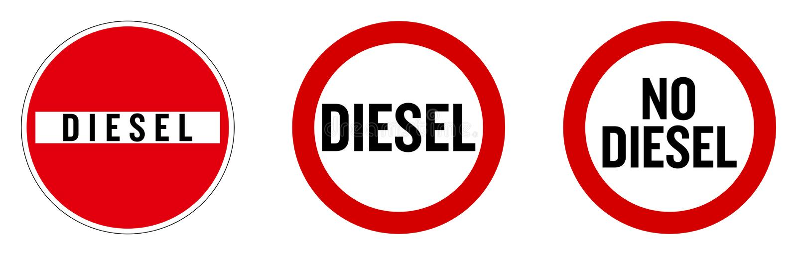 Diesel not allowed sign. Text in `no entry` roadsign, and red circle. royalty free illustration