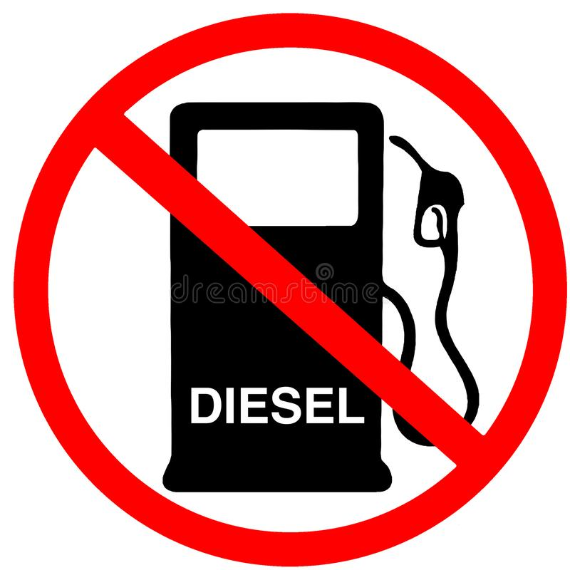 Diesel not in sale not allowed to buy diesel fuel gas station prohibition red circular road sign vector illustration