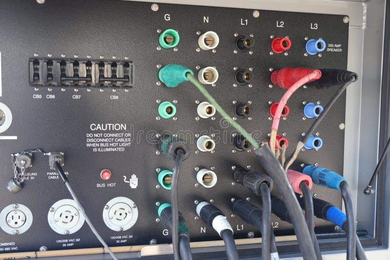 Diesel- panel för anslutning för maktgenerator royaltyfri foto