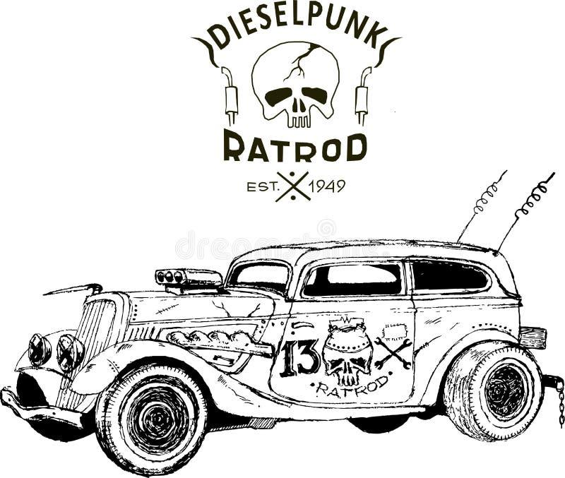 Diesel punk hot rod coupe, odizolowane, sztuki wektorowe, kustom kulture, powojenna wojna zombie ilustracja wektor