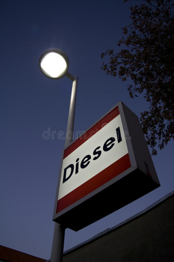Diesel sign at gas station royalty free stock photos