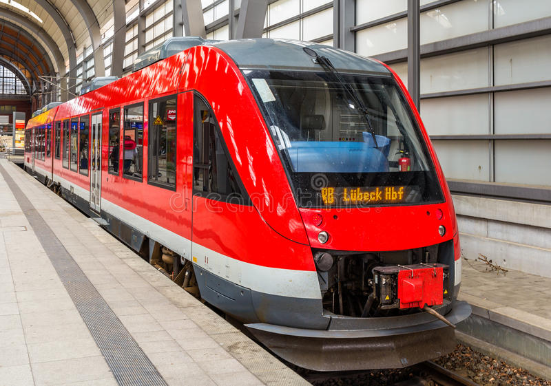 A diesel suburban train in Kiel Central Station. Germany royalty free stock photos