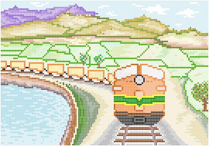 Diesel Train on Countryside stock illustration