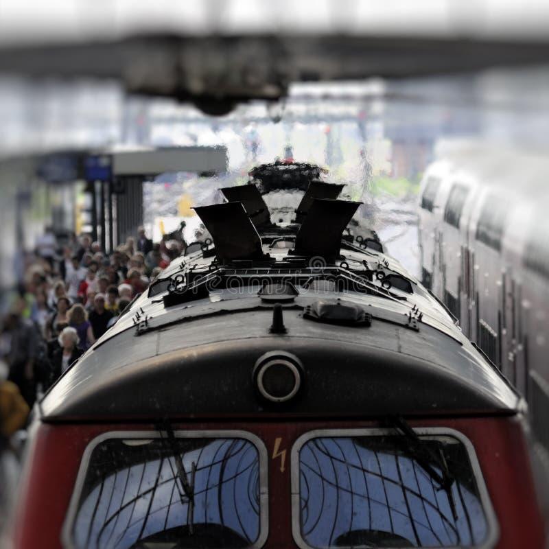 Diesel train in station stock photo