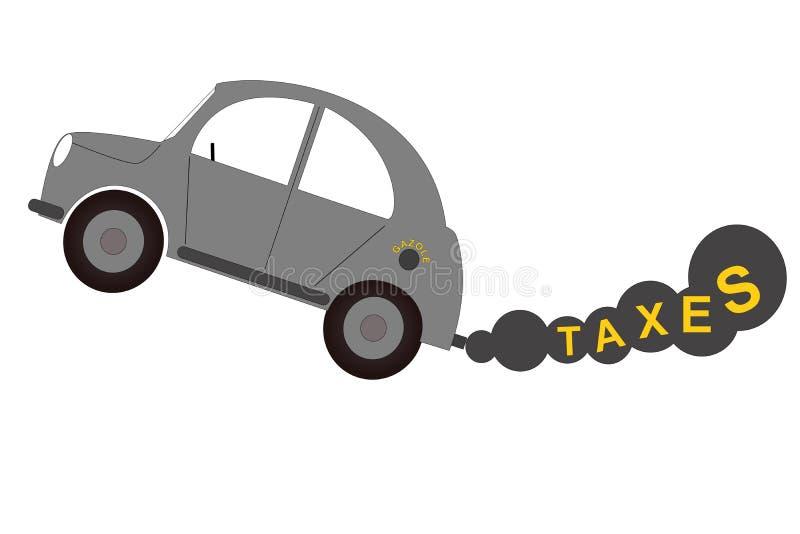 Dieselauto mit Rauche, Verschmutzung, Steuern lizenzfreie abbildung