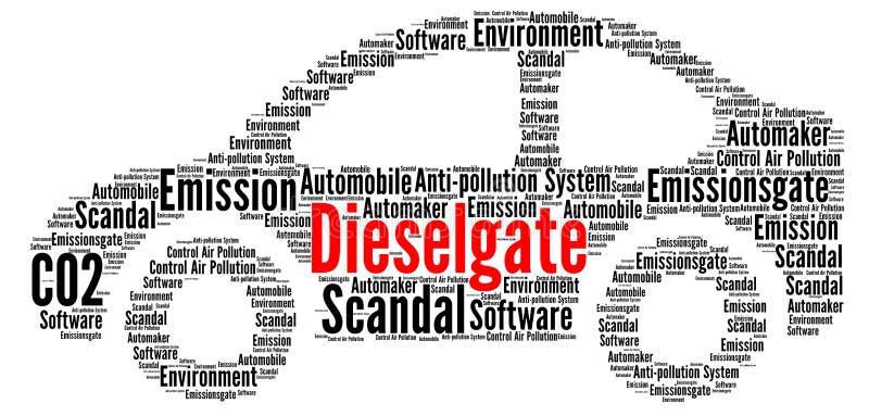 Dieselgate-Wortwolke lizenzfreie abbildung