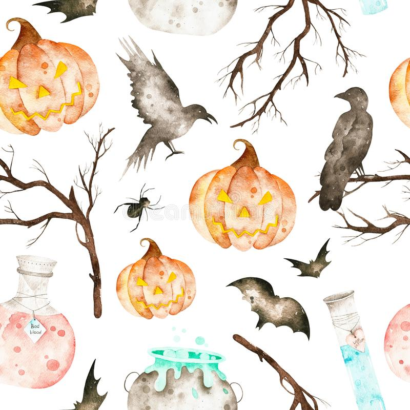 Dieser eingeschlossene magische große Kessel Halloweens nahtloses Muster, Trankflaschen, Schläger, Raben, Spinne, Niederlassungen stock abbildung