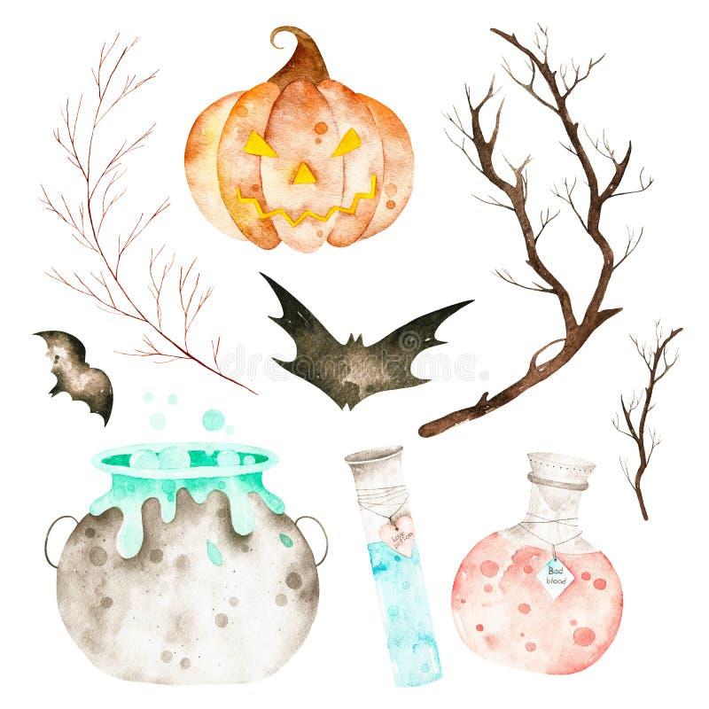 Dieser gesetzte enthaltene magische große Kessel Halloweens, Trankflaschen, Schläger, Niederlassungen und verrückte Kürbis stockbilder