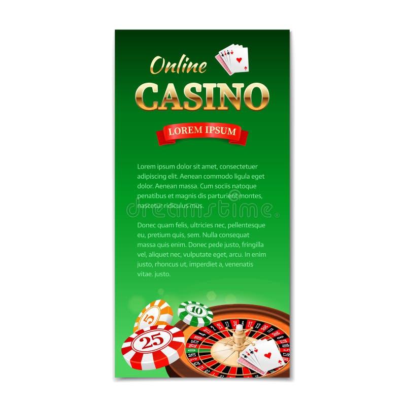 Dieses ist Datei des Formats EPS10 Vertikale Fahne, Flieger, Broschüre auf einem Kasinothema mit Roulettekessel, Spielkarten und  lizenzfreie abbildung