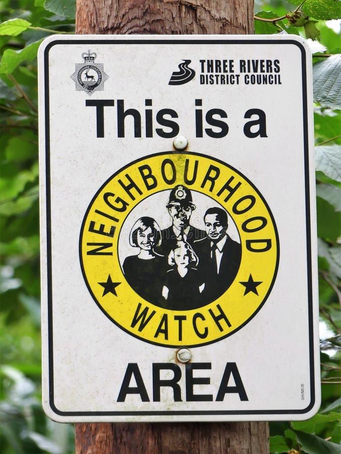 Dieses ist ein Nachbarschafts-Uhr-Bereichszeichen lizenzfreies stockbild