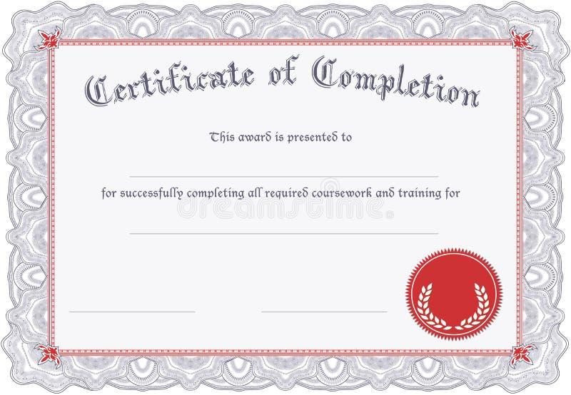 Zertifikat der Fertigstellung