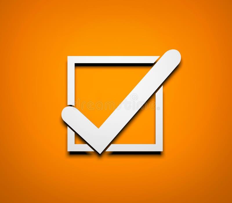 Dieses ist eine 3D übertragene Abbildung Weißes Häkchen auf orange Hintergrund vektor abbildung