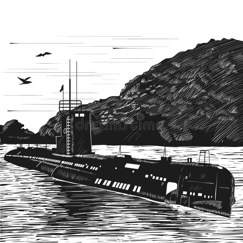 Dieslowska łódź podwodna powojenna budowa Atomowy okręt podwodny łódź Grawerować retro styl Czarny i biały wektor ilustracja wektor