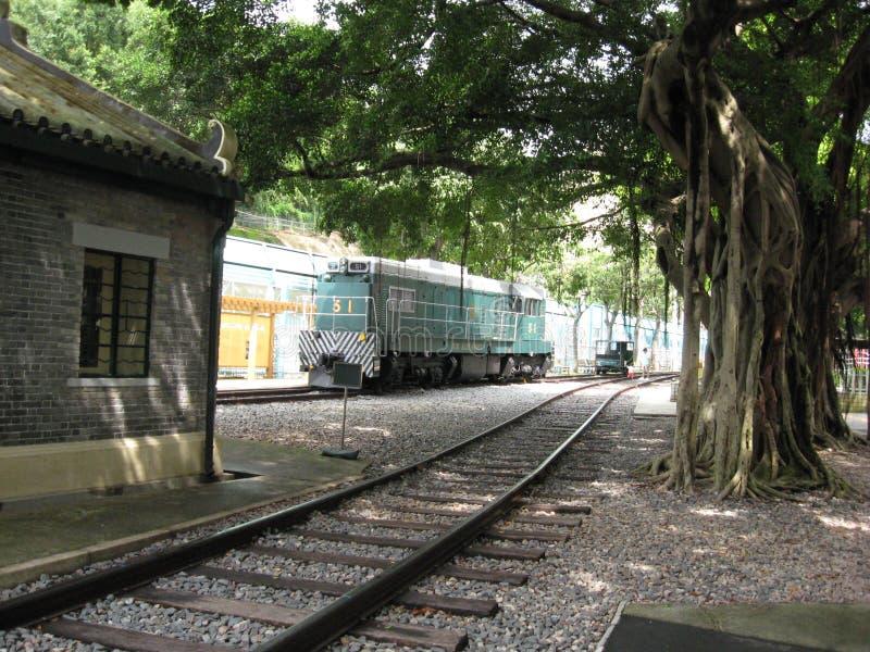 Dieslowska lokomotywa przy Hong Kong kolejowym muzeum, Tai Po, zdjęcia stock