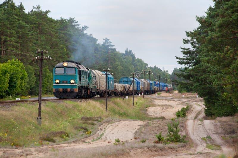 dieslowski pociąg towarowy fotografia royalty free
