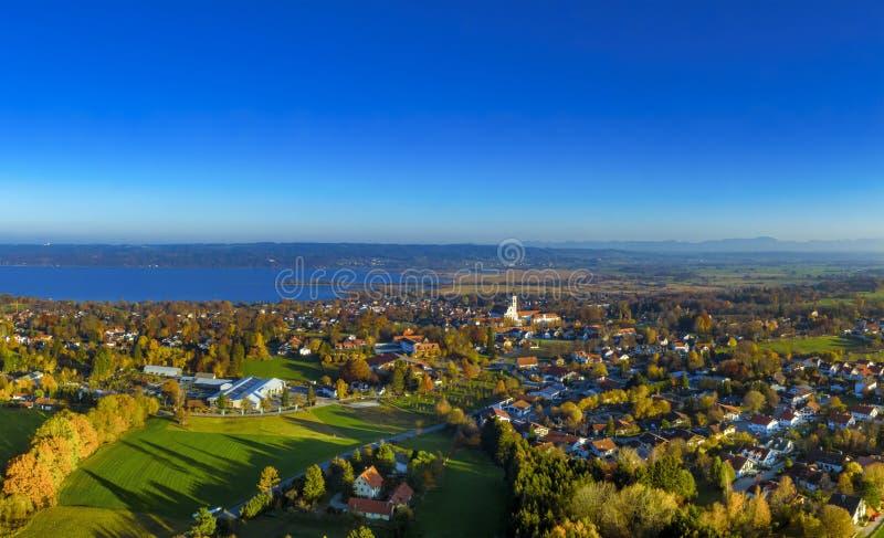 Diessen am Ammersee, Bavaria, Germany. Diessen am Ammersee, Lake Ammer, Aerial view, Upper Bavaria, Bavaria, Germany, Europe stock photography
