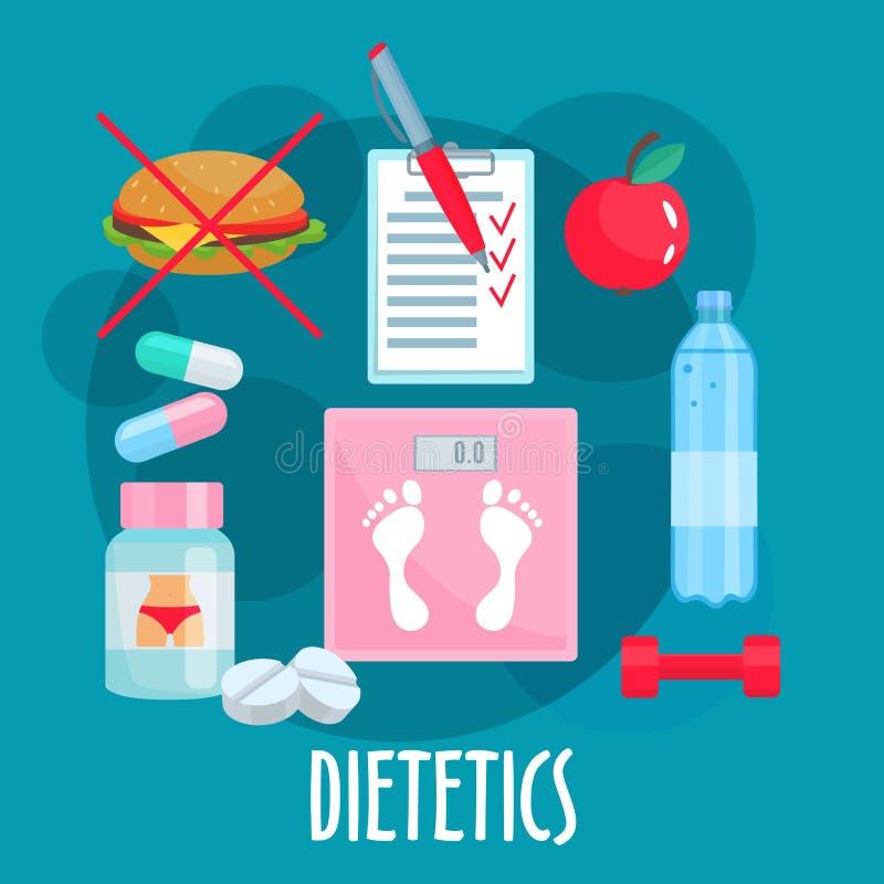 Dietética, nutrición, icono plano de la forma de vida sana stock de ilustración