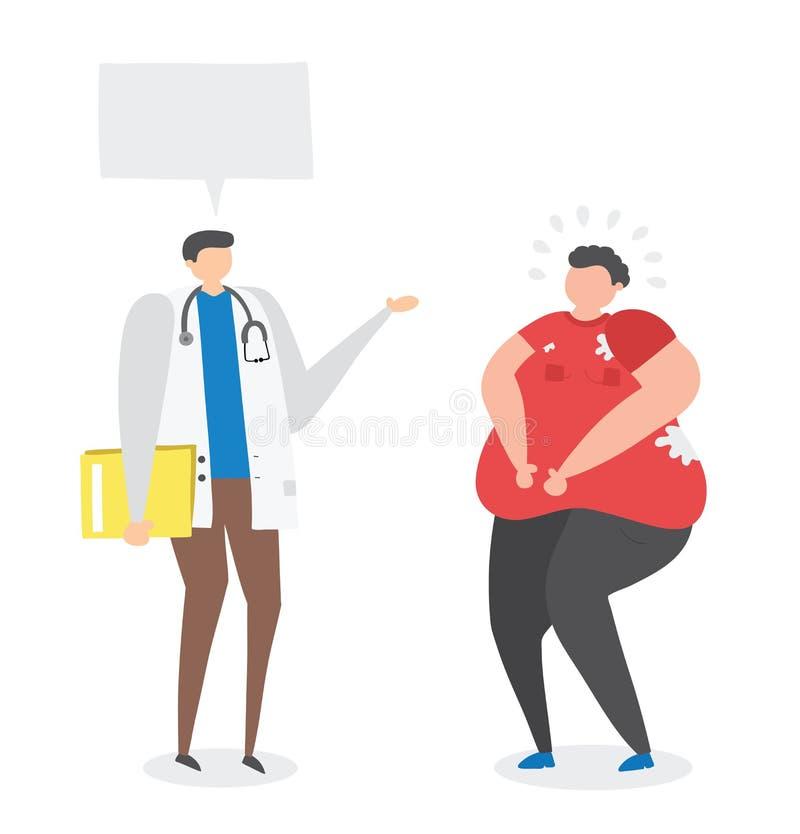 Dietético que habla con el hombre gordo, ejemplo a mano del vector ilustración del vector