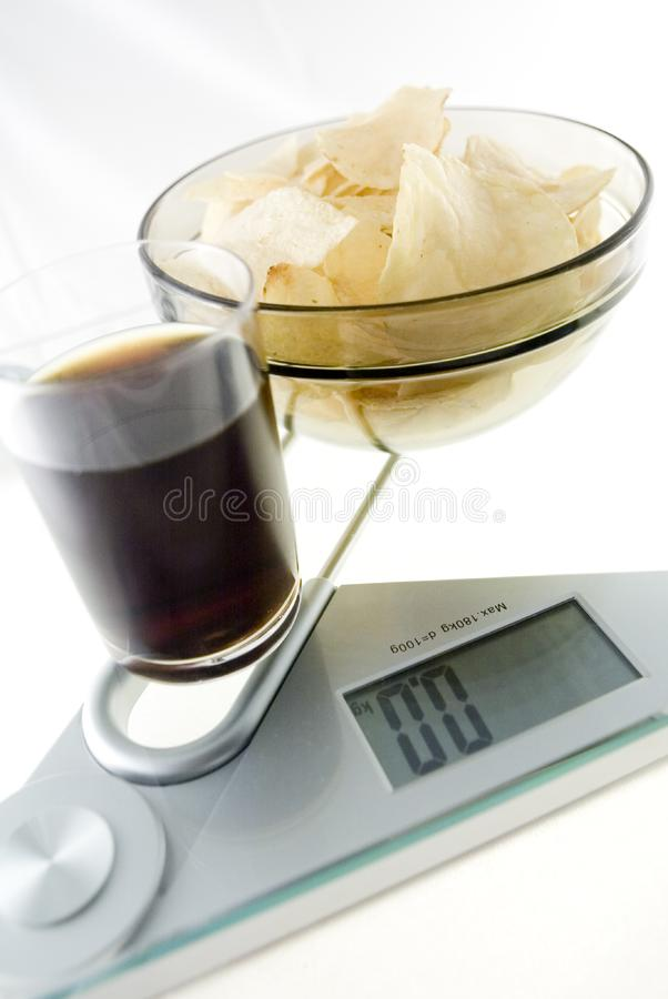 Diet Chips and Coke stock image