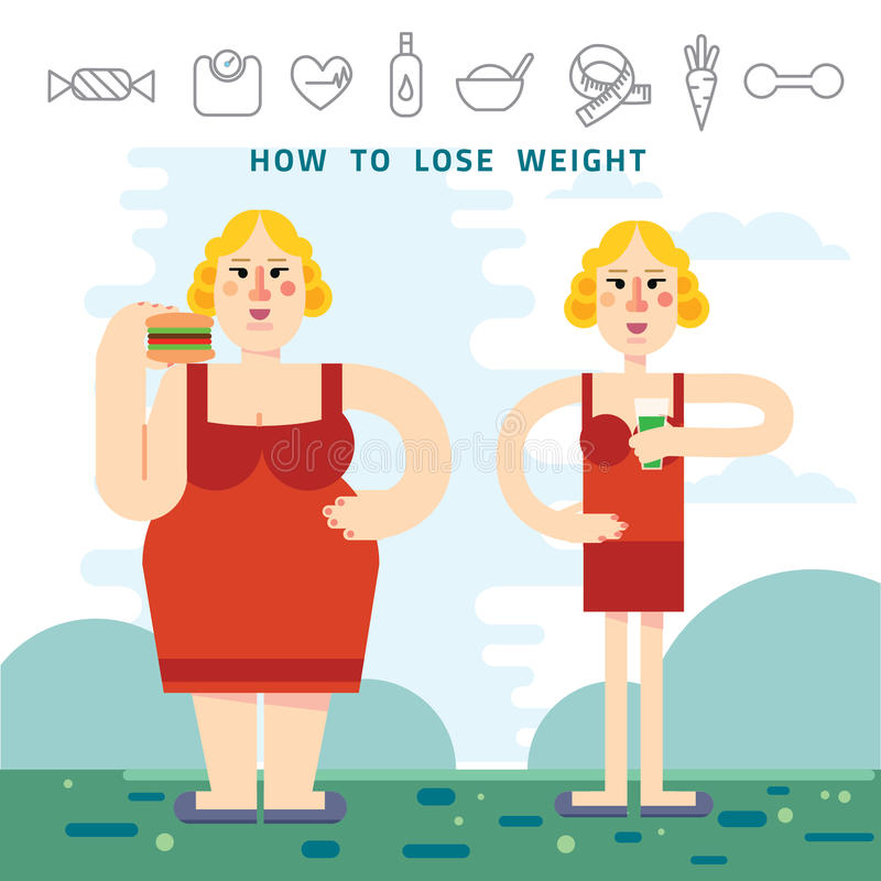 Diet. Choice of girls: being fat or slim. Healthy lifestyle and bad habits. Vector flat illustrations. Diet. Choice of girls: being fat or slim. Infographic stock illustration