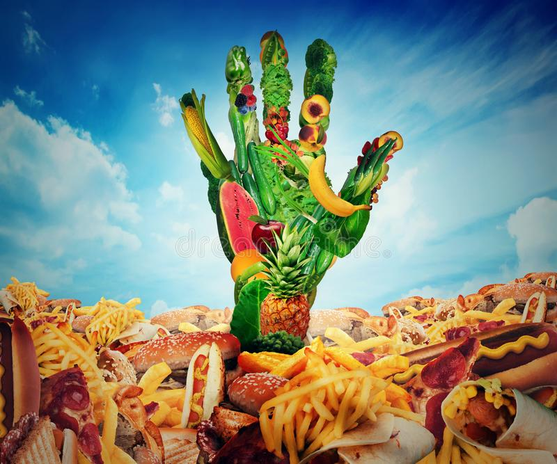 Diet choice and obesity concept. Fruits and vegetables shaped as human hand coming out from a field of junk food stock images