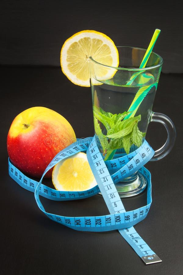 Diet concept. Treatment of obesity. Strict diet. Fruits like diet food. stock image