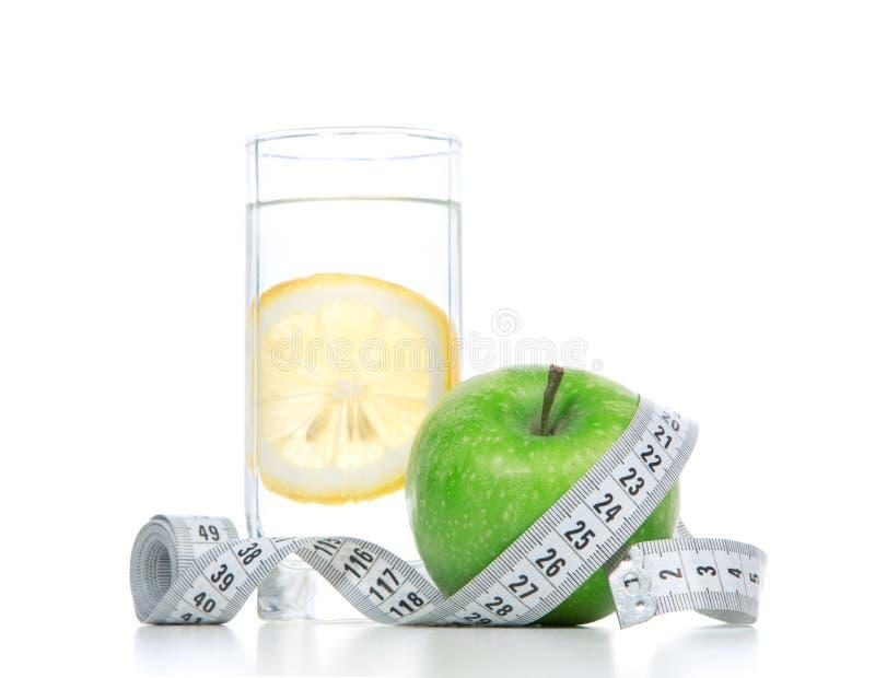 Diet cukrzyc ciężaru straty pojęcie z taśmy miarą fotografia stock