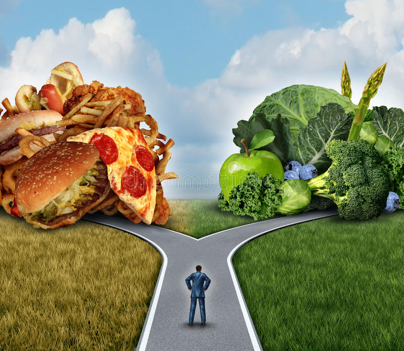 Diet Decision. Concept and nutrition choices dilemma between healthy good fresh fruit and vegetables or greasy cholesterol rich fast food with a man on a stock illustration