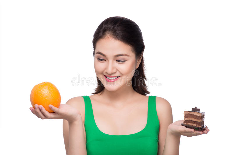 Diet. Dieting concept. Healthy Food. Beautiful Young Asian Woman royalty free stock photo
