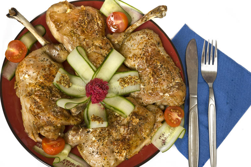 Diet dinner with chicken and vegetable. On a white background stock images