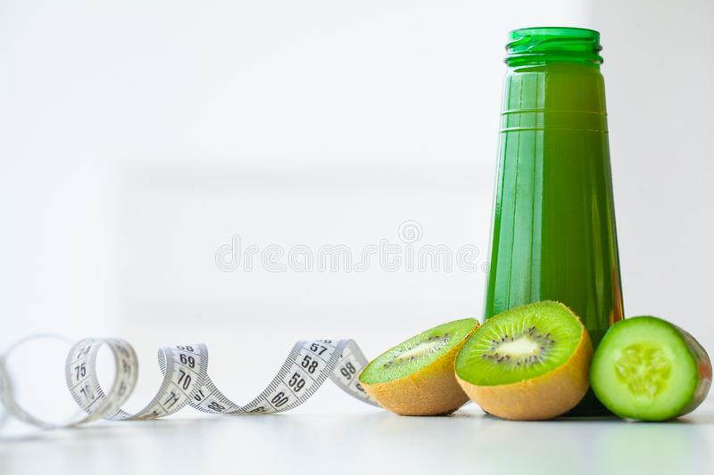 Diet. Fitness and healthy food diet concept, green juice. Fresh royalty free stock images