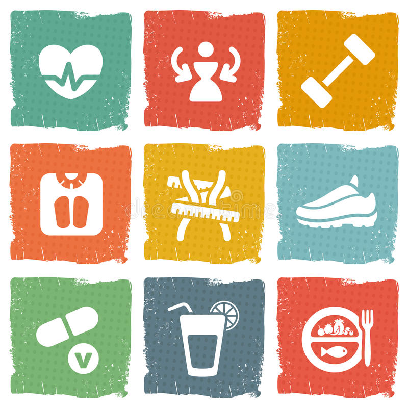 Download Diet And Fitness Theme Icons Set Royalty Free Stock Photo - Image: 37349175