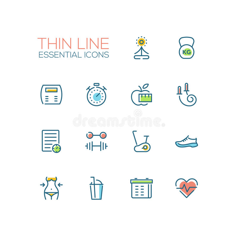 Diet and Fitness - Thin Single Line Icons Set. Diet and fitness - modern vector plain simple thin line design icons set. Yoga, weight, apple, stopwatch, skip stock illustration