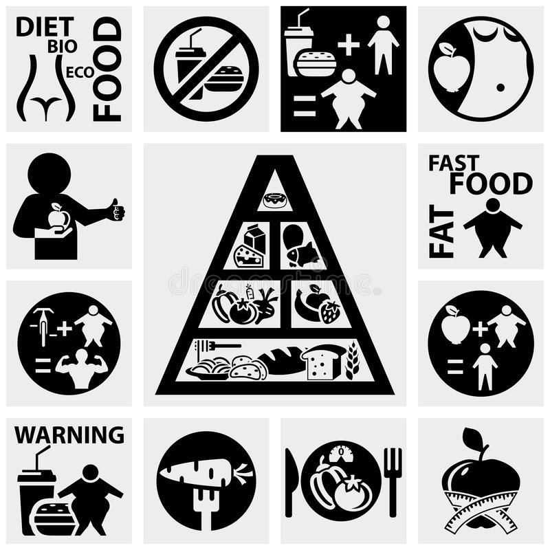 Diet And Fitness Vector Icons Set On Gray Stock Photos