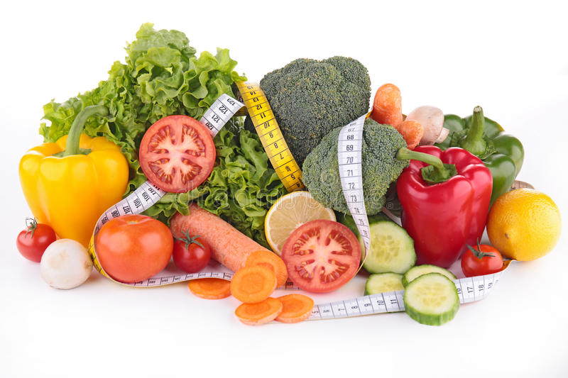 Diet food. Adn meter isolated stock photo