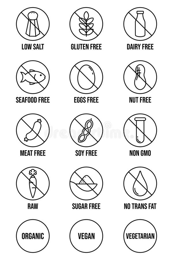 Diet and Food Allergy Icons royalty free illustration