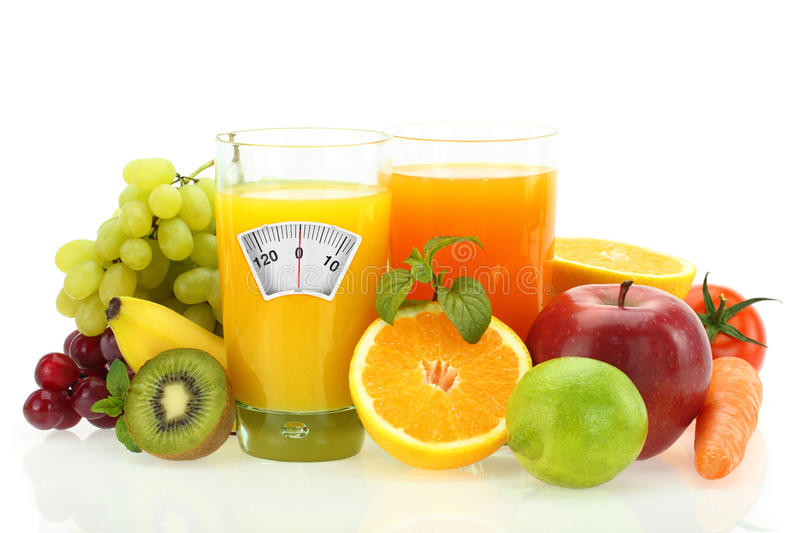 Diet with fruits and vegetables stock photo