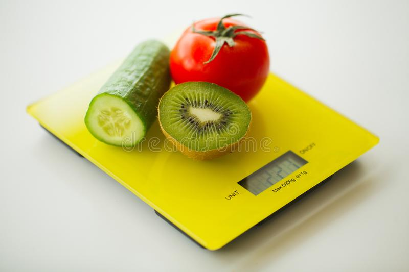 Vegetables On Weight Scale Stock Image  Image Of Scale