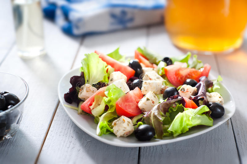 Diet and healthy mediterranean salad royalty free stock image
