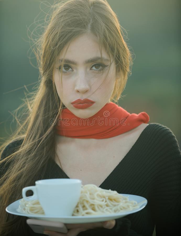 Diet and healthy organic food, italy. diet of young woman with pasta stock images