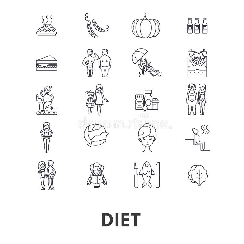 Diet icon set stock illustration