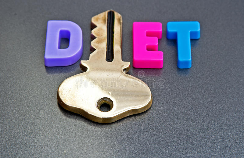 Diet is the key. Text ' Diet ' in colorful upper case letters with letter ' i ' replaced by a gold key on a gray background stock images
