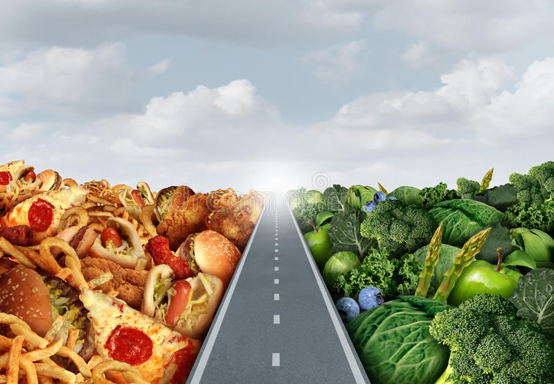Diet lifestyle Concept. Or nutrition decision symbol and food choices dilemma between healthy good fresh fruit and vegetables or greasy cholesterol rich fast vector illustration