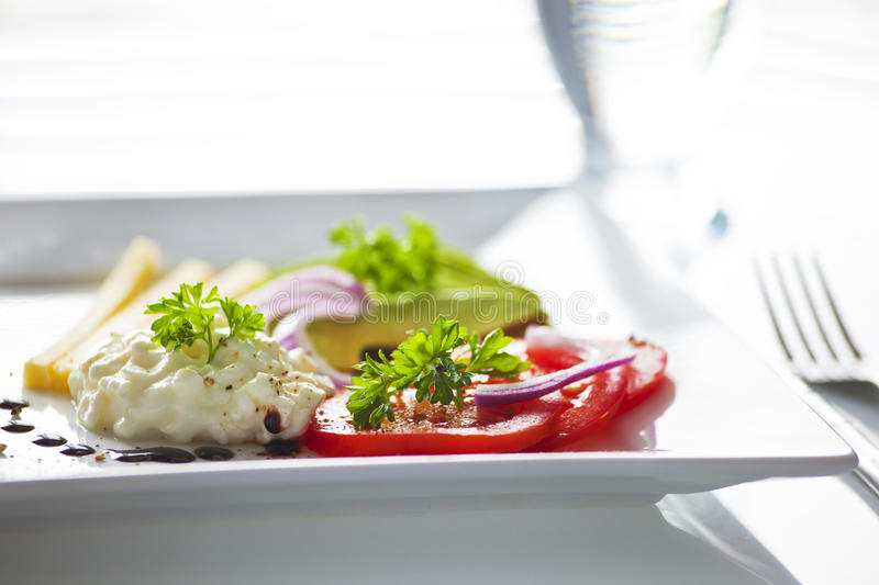 Diet lunch. Beautiful setting of light heahtly diet meal stock image