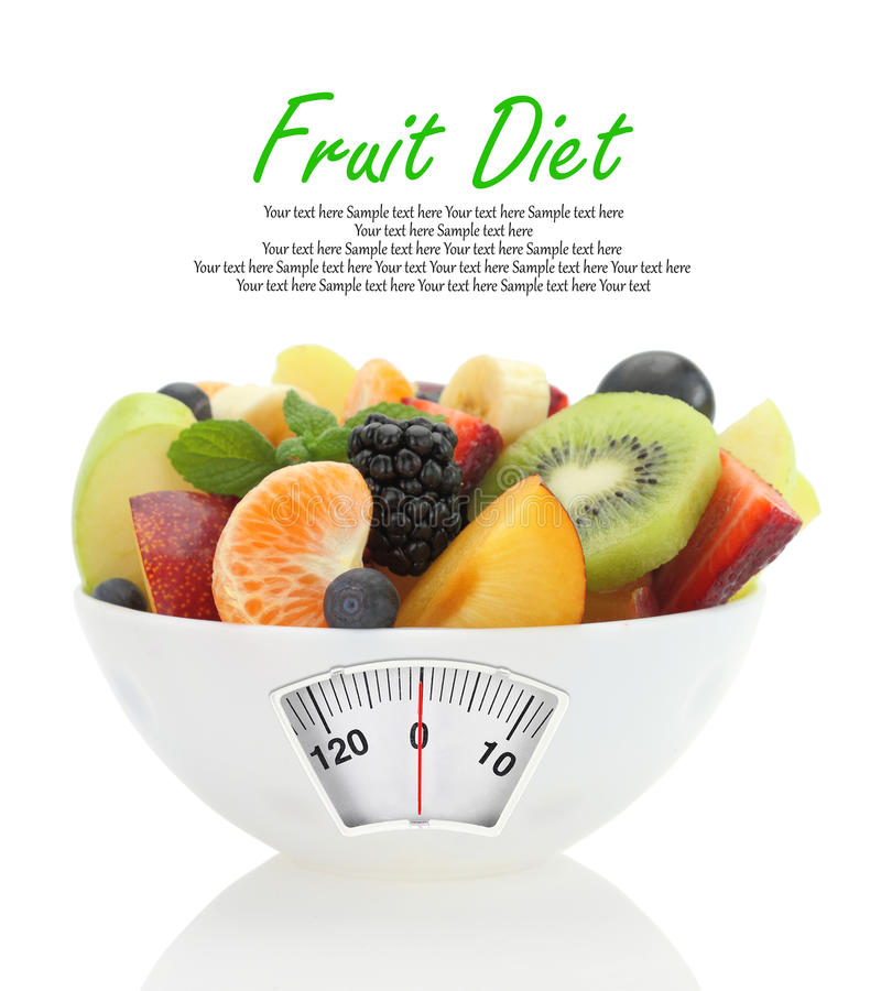 Diet meal. Fruit salad in a bowl stock photos