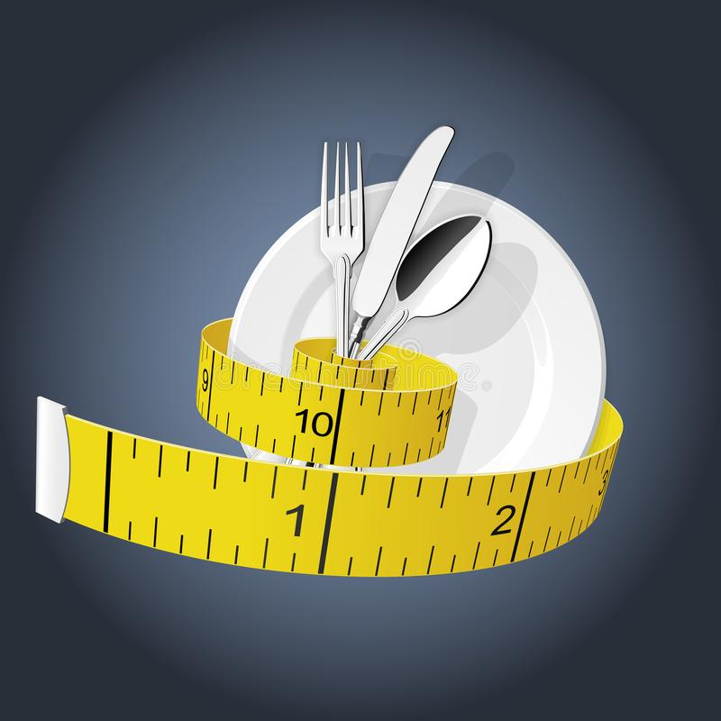 Diet - measuring tape tighten fork, spoon and plate - lose weight stock illustration