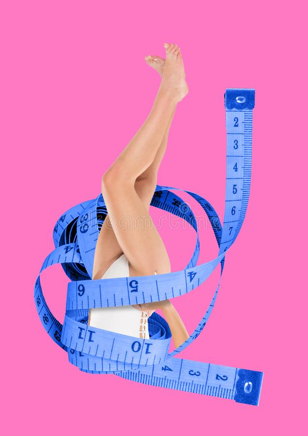 Diet. Modern design. Contemporary art collage. Dived into diet. Female fit legs in white body surrounded by blue tape measure. Going deeper fpr weighting loss royalty free stock image