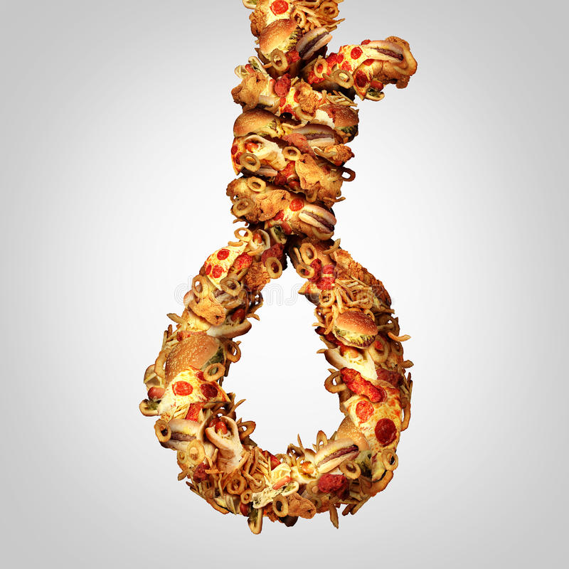 Diet Noose. Concept as a group of greasy fast food shaped as a hangman rope as a symbol for nutritional cholesterol danger and a social issue for the danger of stock illustration